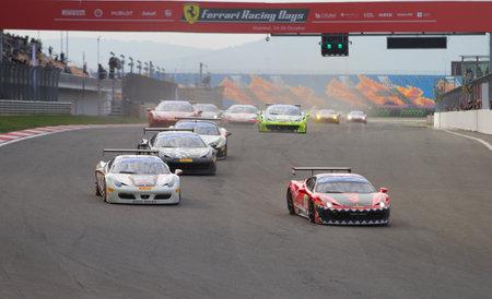 pirelli: ISTANBUL, TURKEY - OCTOBER 26, 2014: Ferrari 458 Challenge during Ferrari Racing Days in Istanbul Park Racing Circuit