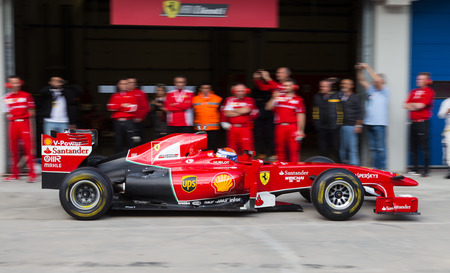 pit stop: ISTANBUL, TURKEY - OCTOBER 26, 2014: Pit stop of Formula 1 car in Ferrari Racing Days in Istanbul Park Racing Circuit