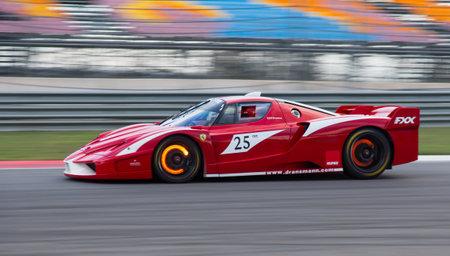 programmes: ISTANBUL, TURKEY - OCTOBER 25, 2014: B. Dransmann drives Ferrari FXX during XX Programmes of Ferrari Racing Days in Istanbul Park Racing Circuit Editorial