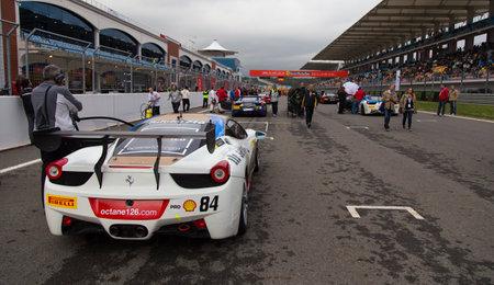 pirelli: ISTANBUL, TURKEY - OCTOBER 26, 2014: Octane 126 Racing Team driver Bjorn Grossmann in start of race during Ferrari Racing Days in Istanbul Park Racing Circuit Editorial