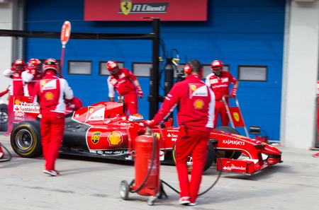 ISTANBUL, TURKEY - OCTOBER 26, 2014: Pit stop of Formula 1 car in Ferrari Racing Days in Istanbul Park Racing Circuit