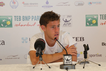 paribas: ISTANBUL, TURKEY - MAY 01, 2015: Argentine player Diego Schwartzman in press conference after quarter final match of TEB BNP Paribas Istanbul Open 2015 Editorial
