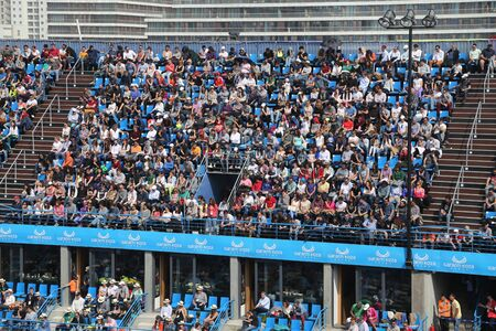 atp: ISTANBUL, TURKEY - MAY 01, 2015: Supporters in Roger Federer and Daniel Gimeno-Traver quarter final match of TEB BNP Paribas Istanbul Open 2015