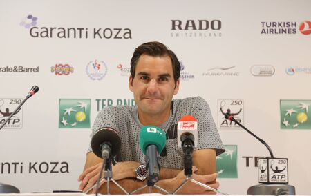 paribas: ISTANBUL, TURKEY - MAY 01, 2015: Swiss player Roger Federer in press conference after quarter final match of TEB BNP Paribas Istanbul Open 2015