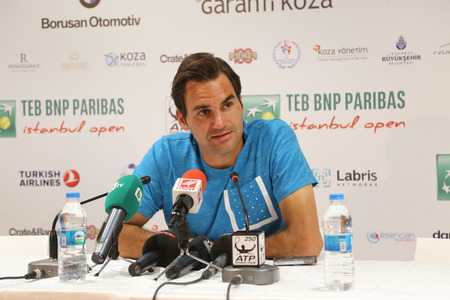 atp: ISTANBUL, TURKEY - MAY 02, 2015: Swiss player Roger Federer in press conference after semi-final match of TEB BNP Paribas Istanbul Open 2015 Editorial