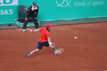 pablo: ISTANBUL, TURKEY - MAY 03, 2015: Uruguayan player Pablo Cuevas in action during final match against Swiss player Roger Federer in TEB BNP Paribas Istanbul Open 2015