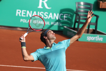 atp: ISTANBUL, TURKEY - MAY 03, 2015: Swiss player Roger Federer in action during final match against Uruguayan player Pablo Cuevas in TEB BNP Paribas Istanbul Open 2015 Editorial