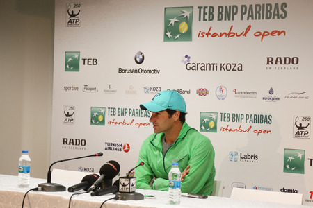 paribas: ISTANBUL, TURKEY - MAY 03, 2015: Swiss player Roger Federer in press conference after final match of TEB BNP Paribas Istanbul Open 2015