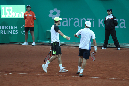 doubles: ISTANBUL, TURKEY - MAY 03, 2015: Radu Albot, Dušan Lajović against Robert Lindstedt, Jürgen Melzer during doubles final match in TEB BNP Paribas Istanbul Open 2015 Editorial
