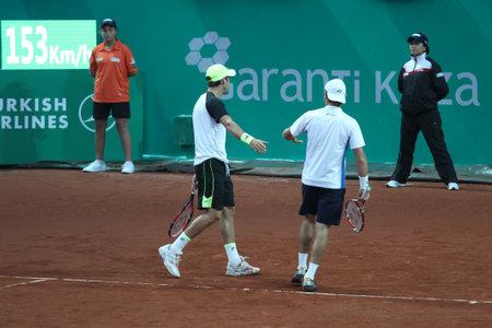 melzer: ISTANBUL, TURKEY - MAY 03, 2015: Radu Albot, Dušan Lajović against Robert Lindstedt, Jürgen Melzer during doubles final match in TEB BNP Paribas Istanbul Open 2015