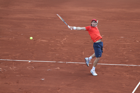 paribas: ISTANBUL, TURKEY - MAY 03, 2015: Uruguayan player Pablo Cuevas in action during final match against Swiss player Roger Federer in TEB BNP Paribas Istanbul Open 2015