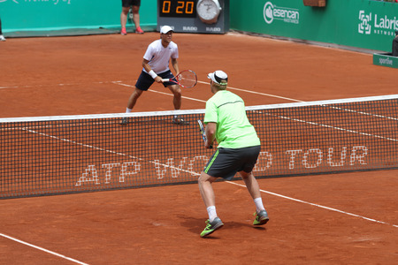 doubles: ISTANBUL, TURKEY - MAY 02, 2015: Dusan Lajovic and Radu Albot against Chris Guccione and Andre Sa in doubles semi-final match of TEB BNP Paribas Istanbul Open 2015 Editorial