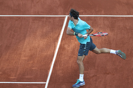 roger: ISTANBUL, TURKEY - MAY 03, 2015: Swiss player Roger Federer in action during final match against Uruguayan player Pablo Cuevas in TEB BNP Paribas Istanbul Open 2015 Editorial