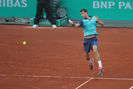 paribas: ISTANBUL, TURKEY - MAY 01, 2015: Bulgarian player Grigor Dimitrov in action during quarter final match against Croatian player Ivan Dodig in TEB BNP Paribas Istanbul Open 2015 Editorial
