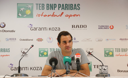 atp: ISTANBUL, TURKEY - MAY 01, 2015: Swiss player Roger Federer in press conference after quarter final match of TEB BNP Paribas Istanbul Open 2015
