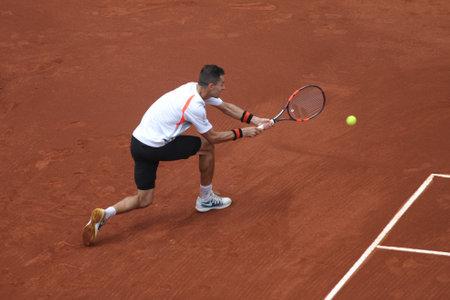 paribas: ISTANBUL, TURKEY - MAY 01, 2015: Colombian player Santiago Giraldo in action during quarter final match against Argentine player Diego Schwartzman in TEB BNP Paribas Istanbul Open 2015