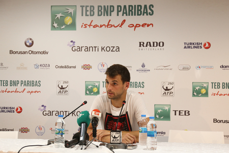 paribas: ISTANBUL, TURKEY - MAY 02, 2015: Bulgarian player Grigor Dimitrov in press conference after semi-final match of TEB BNP Paribas Istanbul Open 2015 Editorial