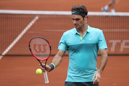 ISTANBUL, TURKEY - MAY 02, 2015: Swiss player Roger Federer in action during semi final match against Argentine player Diego Schwartzman in TEB BNP Paribas Istanbul Open 2015