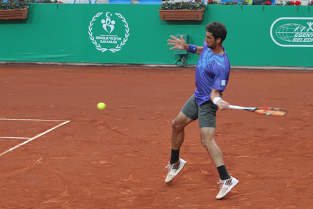 paribas: ISTANBUL, TURKEY - MAY 01, 2015: Brazilian player Thomaz Bellucci in action during quarter final match against Uruguayan player Pablo Cuevas in TEB BNP Paribas Istanbul Open 2015