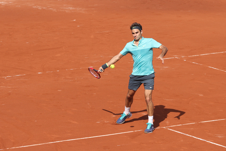 paribas: ISTANBUL, TURKEY - MAY 01, 2015: Swiss player Roger Federer in action during quarter final match against Spanish player Daniel Gimeno-Traver in TEB BNP Paribas Istanbul Open 2015