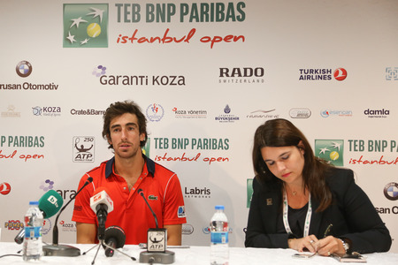 paribas: ISTANBUL, TURKEY - MAY 02, 2015: Uruguayan player Pablo Cuevas in press conference after semi-final match of TEB BNP Paribas Istanbul Open 2015 Editorial
