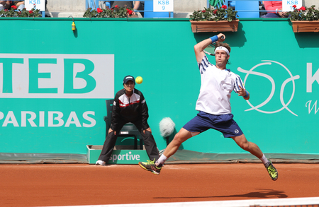 paribas: ISTANBUL, TURKEY - MAY 01, 2015: Spanish player Daniel Gimeno-Traver in action during quarter final match against Swiss player Roger Federer in TEB BNP Paribas Istanbul Open 2015