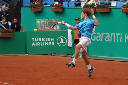 paribas: ISTANBUL, TURKEY - MAY 02, 2015: Argentine player Diego Schwartzman in action during semi final match against Swiss player Roger Federer in TEB BNP Paribas Istanbul Open 2015