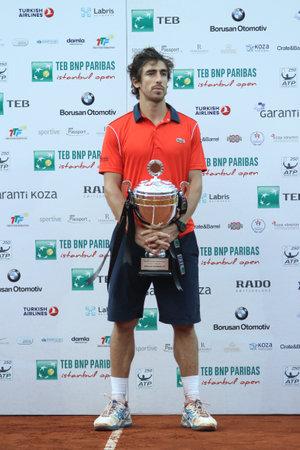 paribas: ISTANBUL, TURKEY - MAY 03, 2015: Uruguayan player Pablo Cuevas is runner-up in TEB BNP Paribas Istanbul Open 2015 Editorial