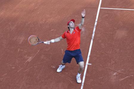 pablo: ISTANBUL, Turchia - 3 maggio 2015: il giocatore uruguaiano Pablo Cuevas in azione durante il finale contro il giocatore svizzero Roger Federer in TEB BNP Paribas Istanbul Aperto 2015
