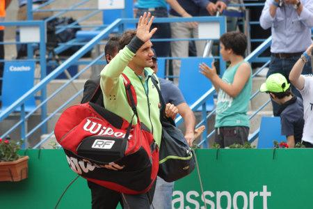 paribas: ISTANBUL, TURKEY - MAY 02, 2015: Swiss player Roger Federer before semi-final match of TEB BNP Paribas Istanbul Open 2015