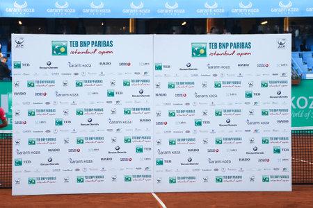 paribas: ISTANBUL, TURKEY - MAY 03, 2015: Podium of TEB BNP Paribas Istanbul Open 2015