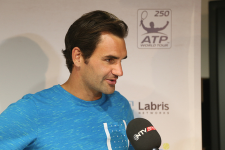 paribas: ISTANBUL, TURKEY - MAY 02, 2015: Swiss player Roger Federer in press conference after semi-final match of TEB BNP Paribas Istanbul Open 2015 Editorial