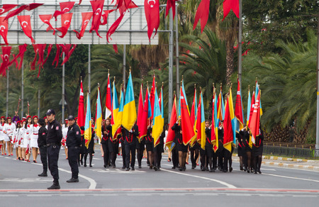 29: ISTANBUL, TURKEY - OCTOBER 29, 2014: Students march with flags in Vatan Avenue during 29 October Republic Day celebration of Turkey