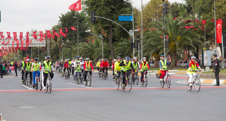 29: ISTANBUL, TURKEY - OCTOBER 29, 2014: Cyclists in Vatan Avenue during 29 October Republic Day celebration of Turkey Editorial