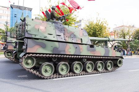 29: ISTANBUL, TURKEY - OCTOBER 29, 2014: Self propelled howitzer in Vatan Avenue during 29 October Republic Day celebration of Turkey