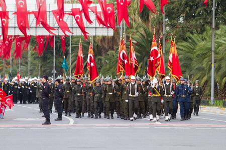 mustafa: ISTANBUL, TURKEY - OCTOBER 29, 2014: Soldiers march in Vatan Avenue during 29 October Republic Day celebration of Turkey