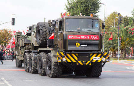 tracked: ISTANBUL, TURKEY - OCTOBER 29, 2014: Tracked vehicle in Vatan Avenue during 29 October Republic Day celebration of Turkey Editorial