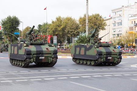 29: ISTANBUL, TURKEY - OCTOBER 29, 2014: Armoured Personnel Carrier in Vatan Avenue during 29 October Republic Day celebration of Turkey