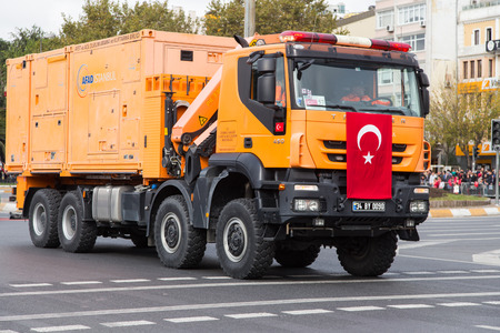 presidency: ISTANBUL, TURKEY - OCTOBER 29, 2014: Disaster and Emergency Managment Presidency vehicle in Vatan Avenue during 29 October Republic Day celebration of Turkey