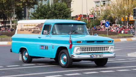 29: ISTANBUL, TURKEY - OCTOBER 29, 2014: Classic car in Vatan Avenue during 29 October Republic Day celebration of Turkey