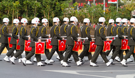 29: ISTANBUL, TURKEY - OCTOBER 29, 2014: Soldiers march in Vatan Avenue during 29 October Republic Day celebration of Turkey