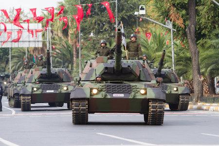 mustafa: ISTANBUL, TURKEY - OCTOBER 29, 2014: Tank in Vatan Avenue during 29 October Republic Day celebration of Turkey