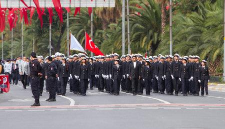 29: ISTANBUL, TURKEY - OCTOBER 29, 2014: Navy Students in Vatan Avenue during 29 October Republic Day celebration of Turkey