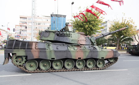 armoured: ISTANBUL, TURKEY - OCTOBER 29, 2014: Armoured Personnel Carrier in Vatan Avenue during 29 October Republic Day celebration of Turkey