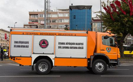mustafa: ISTANBUL, TURKEY - OCTOBER 29, 2014: Disaster and Emergency Managment Presidency vehicle in Vatan Avenue during 29 October Republic Day celebration of Turkey