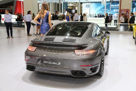 sportscar: ISTANBUL, TURKEY - MAY 21, 2015: Porsche 911 Turbo S in Istanbul Autoshow 2015 Editorial