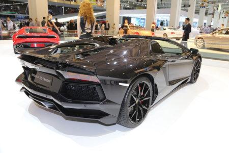 sportscar: ISTANBUL, TURKEY - MAY 21, 2015: Lamborghini Aventador LP 700-4 Roadster in Istanbul Autoshow 2015