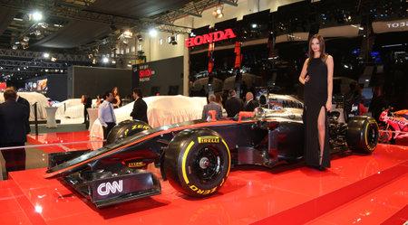 f1: ISTANBUL, TURKEY - MAY 21, 2015: McLaren Honda F1 car in Honda Stand in Istanbul Autoshow 2015 Editorial