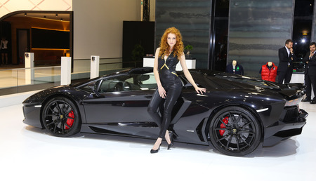 ISTANBUL, TURKEY - MAY 21, 2015: Lamborghini Aventador LP 700-4 Roadster in Istanbul Autoshow 2015