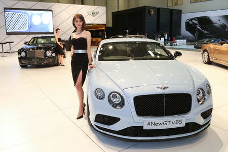autoshow: ISTANBUL, TURKEY - MAY 21, 2015: Bentley New GTV8S in Istanbul Autoshow 2015 Editorial